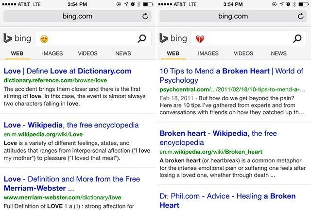 Emoji Bing search